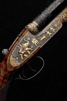 """The Westley Richards 600 Nitro Express """"India Rifle."""" Elaborately embellished in the decorative style of the Indian Raj. 2013."""