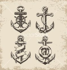 Hand drawn anchor set vector 2072122 - by krookedeye on VectorStock®