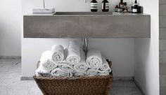 Basket storage for towels | Small Bathroom Decorating Ideas on a Budget