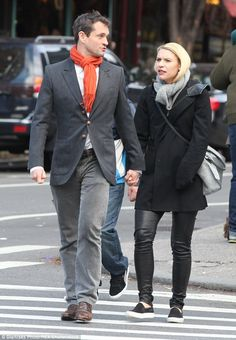 Walk to work: Claire Danes strolled hand in hand with her husband Hugh Dancy on the way to...