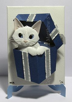 HAND MADE winter holiday ornament, BEAUTIFULLY CRAFTED White Kitten in a Box Cat ACEO Christmas Mini by PaperMatthew, $50.00