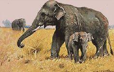 Elephants~counted cross stitch pattern #400~Vintage Animals Wildlife Graph Chart