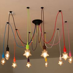 57.66$  Watch now - http://alicns.shopchina.info/go.php?t=32790012275 - Nordic Retro Spider Ceiling Lamps Star Shape Light Bulb Ceiling Lights 6-14 head Colorful Cord DIY Ceiling Lamp for restaurant 57.66$ #buyonline