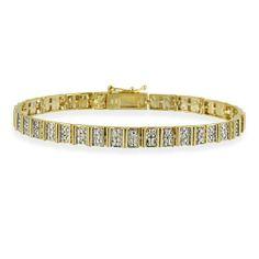 18K Gold over Sterling Silver Diamond Accent Vertical Rectangle Link Bracelet SilverSpeck.com. $39.99. Save 56%!
