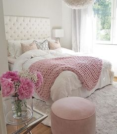 Teen Girl Bedrooms exceptional concept - Basic yet cushy teenage girl room tips. For other wonderful decor info why not jump to the image this instant. Pink Bedroom Decor, Cozy Bedroom, Dream Bedroom, Girls Bedroom, Trendy Bedroom, Young Adult Bedroom, Bedroom Bed, Bedroom Colors, Bedroom Decor Ideas For Teen Girls