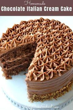 Chocolate Italian Cream Cake Recipe, Italian Cream Cakes, Homemade Chocolate, Delicious Chocolate, Chocolate Recipes, Coconut Chocolate, Chocolate Cream Cake, Chocolate Brownie Cake, Chocolate Chocolate
