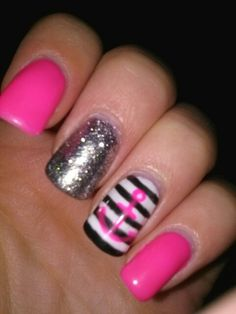 My nails. Nail art. Anchor. Sparkles. Pink. Love. Gorgeous.