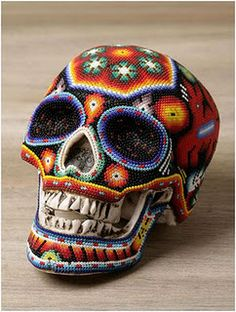 Amazing Huichol Beaded Skull