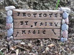 Fairy Door Garden Sign Protected by fairy magic Stone