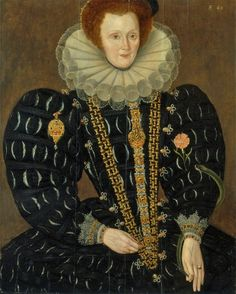 Lady Elizabeth Knightley by Marcus Gheeraerts the younger.This lady's dress , restrained but very rich in terms of jewellery, seems to be typical of those ladies close to the Queen. The emblematic presence of a carnation, or gillyflower, and the serpent are noteworthy. Both were associated with the Queen.