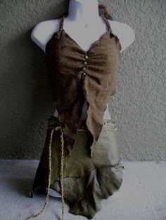 Erde und Wolle Neckholder BH--burning man Leder tribal Fusion Bauchtanz Amazon Larp braun Amazon Kostüm