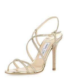 Issey Glittery Crisscross Sandal by Jimmy Choo at Neiman Marcus.
