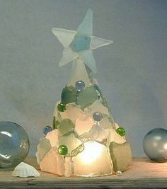 Sea glass and glass marble christmas tree.