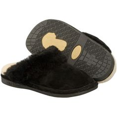 Old Friend Footwear Women's Scuff Style #: 441169 Black Slipper Sheepskin Plush Fleece Lining Rubber Sole Indoor Outdoor | #TheShoeMart #CozyToes