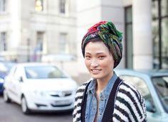 Head scarf, chambray & stripes #turbanstyle #turban #hijab #tichel #headscarf #stylishturban
