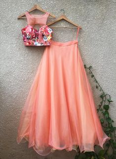 Peach Floral Lehenga Set