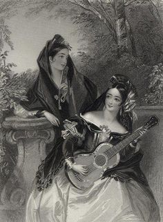 W.H. Mote (19th century) - The Guitar, Engraving after a picture by Miss Corbaux, 1849