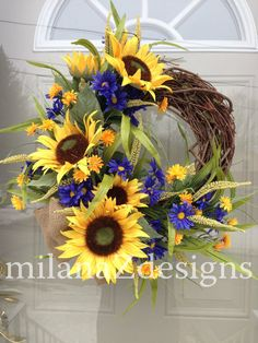 Sunflower Door Wreath, French Country Floral Wreath, Grapevine Summer Decoration, Blue Yellow Flowers, Bridal Shower Hanging Arrangement
