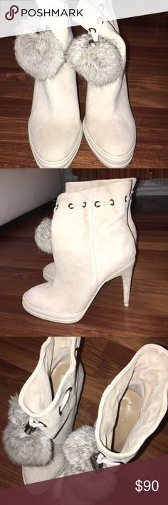 BCBG MAXAZRIA BOOTIES Super cute booties With a fur ball BCBGMaxAzria Shoes Heeled Boots
