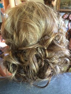Loose messy curled updo. By Amy Lee at The Salon