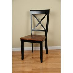 Available in Cherry/Black, Oak/Nutmeg, Black Comfort Decor Contemporary X Back Side Chair