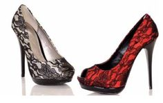 Red/Black Lace and Silver/Black Lace Shoes