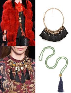 Los collares y accesorios con borlas triunfarán de la mano de Anna Sui y Etro. Collar de cadena con borlas, de Mango (39,99 euros), y colgante, de Iam by Ilean...