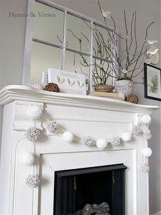 Peaceful Winter Mantel - Love the Pom-Pom Garland