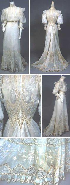 Embroidered handkerchief linen dress, ca. 1900.