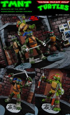 Custom Repainted Nickelodeon Teenage Mutant Ninja Turtles Action Figure Set