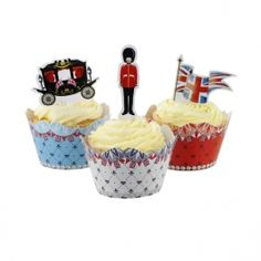 Jubilee Cake Wraps & Toppers 24 cake wraps in 3 designs and 15 cake toppers in 5 designs.   Simply wrap around your cupcake and secure using the tab. For the finishing touch, pop on top one of our Jubilee card cake toppers.