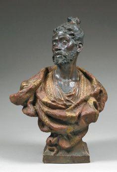 ÉDITION F. GOLDSCHEIDER. VIENNE BUSTE D'UN HOMME AFRICAIN Épreuve en terre