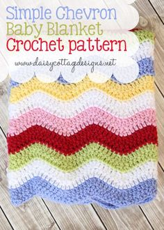 Simple Baby Blanket Crochet Pattern. Yarn brands/colors included.   #chevron #Crochet #babyblanket. Lovely color combo!!