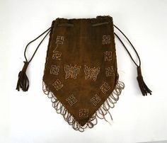 1910's Brown Suede Beaded Butterflies Rolling Logs and