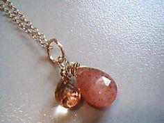 Sweet Nichole Gold necklace Sunstone/Apricot quartz by Lilyb444, $86.00 #teamdream