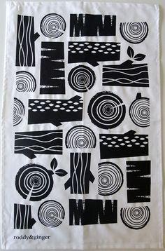 logpile tea towel in black on white by roddyandginger on Etsy, $16.00