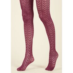 Pinup Pointelle the Difference Tights ($30) ❤ liked on Polyvore featuring intimates, hosiery, tights, pinup stockings, burgundy tights, knit stockings and knit tights