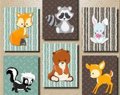 Baby jongen kwekerij kunst Woodland kwekerij door HollyPopDesigns