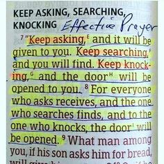 Keep Searching Knocking And Asking. Amen...Mildred Williams