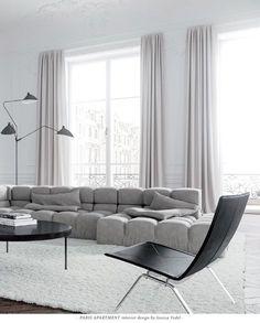 The minimalist Living Room of a Paris Apartment, designed by Jessica Vedel, via @sarahsarna.