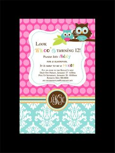 Owl birthday invitation... Could be for a baby shower invite