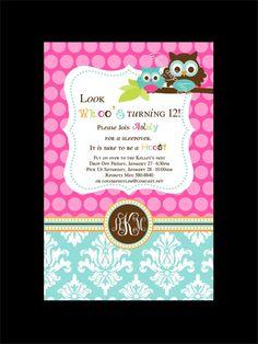 Owl Invitation Design - Owl Birthday Party Printable Invitation - Lemon Drop Designs. $16.00, via Etsy.