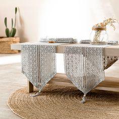 Τραβέρσα Gofis Home Crochet Grey - spitishop. Chrochet, Bassinet, Grey, Table, Furniture, Home Decor, Vintage, Crochet, Gray