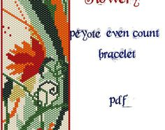 Peyote Pattern for bracelet: Flowery- INSTANT DOWNLOAD pdf