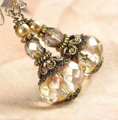 Cream Champagne Vintage Style Czech Glass by DorotaJewelry on Etsy, $ 27.90
