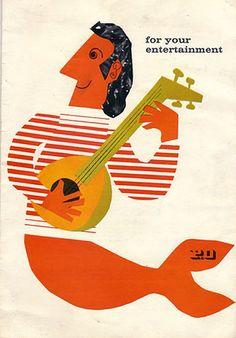 """1962 entertainment guide from the P liner """"Canberra"""". Artist: Dorrit Dekk."""