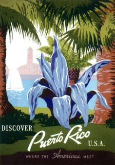 Vintage Travel Poster Puerto Rico USA