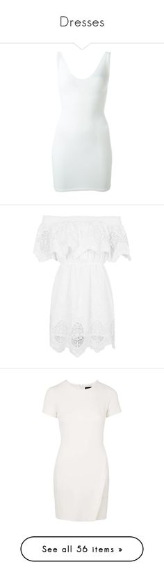"""""""Dresses"""" by laylah-wish ❤ liked on Polyvore featuring dresses, short dress, vestidos, white, form fitting dresses, sleeveless dress, dsquared2 dress, short white dresses, white sleeveless dress and robes"""