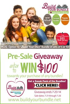 The BEST and BIGGEST Homeschooling Bundle Sale EVER! Pick and Choose what YOU want to purchase or buy one of our pre-assembled bundles for up to 92% off! Includes products from Cathy Duffy's Top 100 Picks! www.buildyourbundle.net