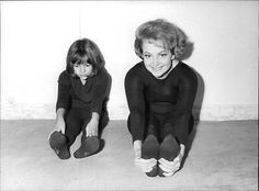 Vintage Photo Of Olivia De Havilland And Daughter Gisèle Stretching -